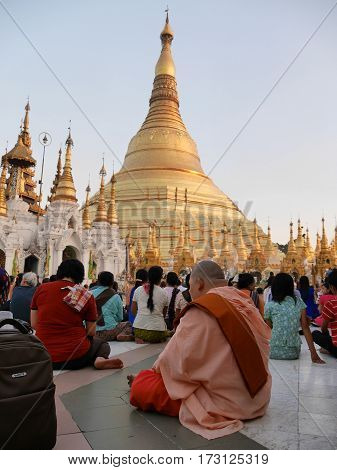Person kneeing sitting and praying in front of the main stup of Shwedagon Pagoda in city Yangon Myanmar