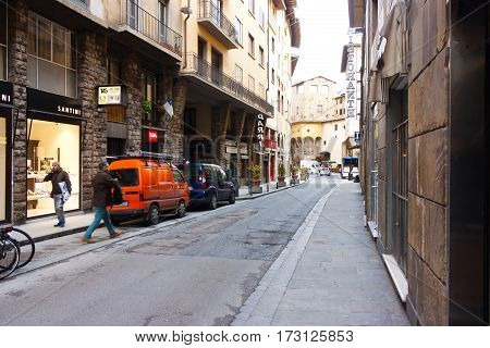 FIRENZE ITALY - February 06 2017 - street with houses in Florence Italy