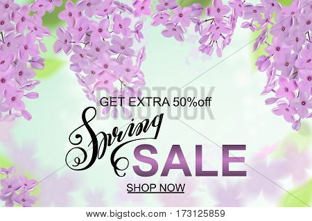 Advertisement about the spring sale on background with beautiful lilac blossom, Lettering, calligraphy. A seasonal discount. Vector illustration.