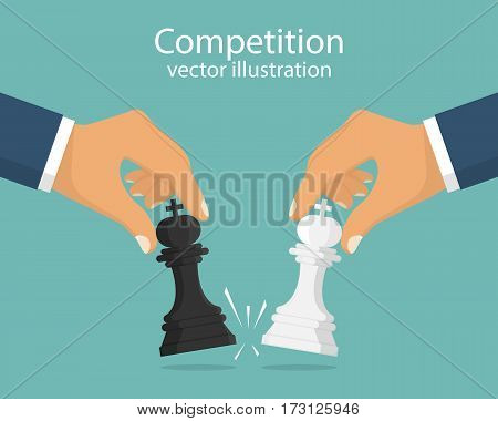 Concept of business competition. Businessmen hold chess pieces in hands of punching as a symbol of rivalry, competition, corporate conflict. Vector illustration, flat design. Hitting chess figures.