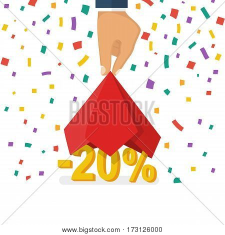 20 discount. Discounts opening concept. Man hold hand red silk cloth, opening 20 percent. Colorful falling confetti isolated on white background. Vector illustration flat design. Big sale best offer