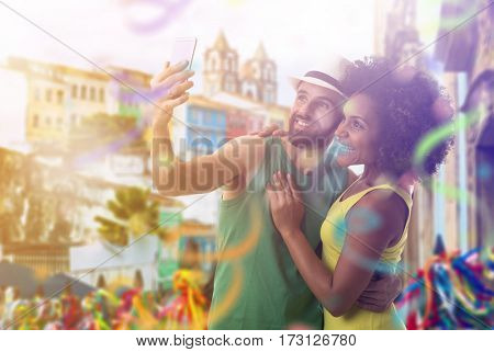 Couple celebrating the Carnival in Bahia, Brazil