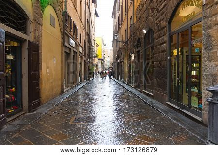 FIRENZE ITALY - February 06 2017 - Old street after rain in Florence Italy