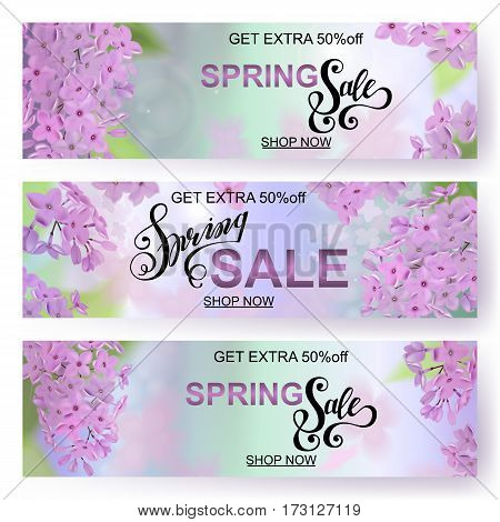 Advertisement about the spring sale on background with beautiful lilac blossom, Lettering, calligraphy. A seasonal discount. Vector horizontal banner. EPS10