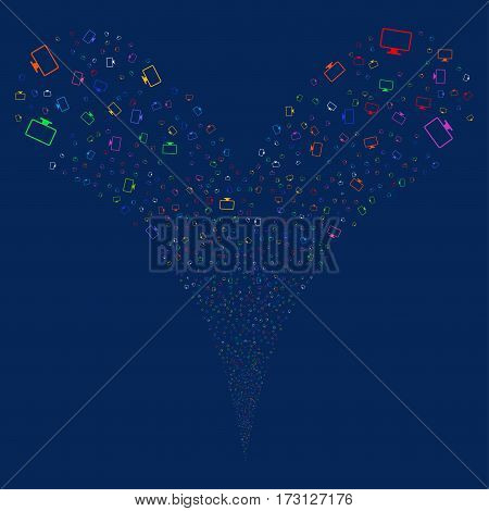 Monitor fireworks stream. Vector illustration style is flat bright multicolored iconic symbols on a blue background. Object double fountain combined from random pictograms.
