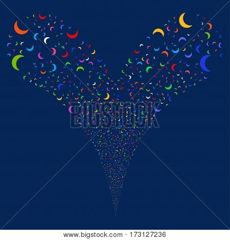 Moon fireworks stream. Vector illustration style is flat bright multicolored iconic symbols on a blue background. Object double fountain created from random pictograms.
