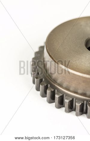 Metal Gear Wheel Isolated Over White Background With Copy Space