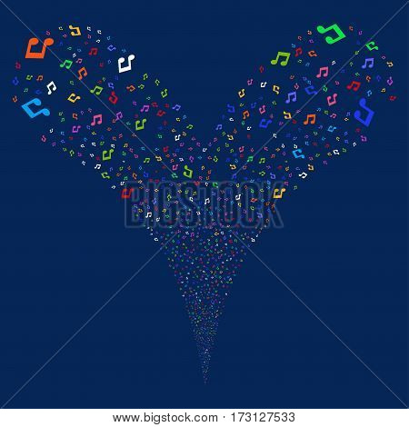 Music fireworks stream. Vector illustration style is flat bright multicolored iconic symbols on a blue background. Object double fountain made from random icons.