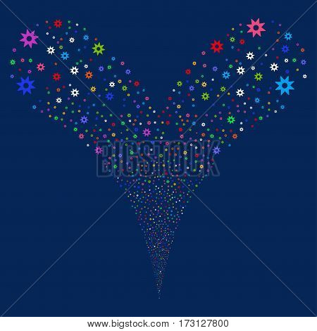 New fireworks stream. Vector illustration style is flat bright multicolored iconic symbols on a blue background. Object double fountain done from random pictographs.