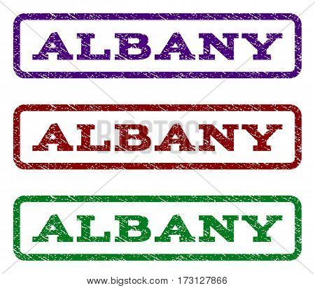 Albany watermark stamp. Text caption inside rounded rectangle with grunge design style. Vector variants are indigo blue red green ink colors. Rubber seal stamp with scratched texture.