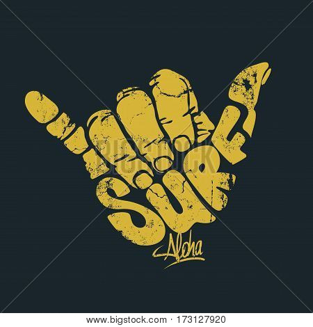 Surfing hand sign aloha print vector illustration