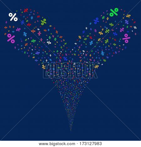 Percent fireworks stream. Vector illustration style is flat bright multicolored iconic symbols on a blue background. Object double fountain combined from random symbols.