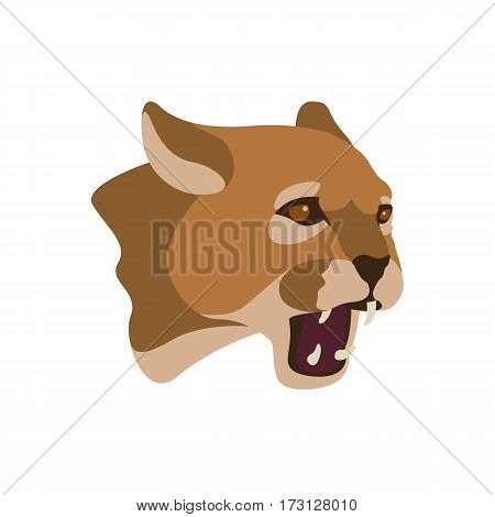 cougar head vector illustration style Flat side