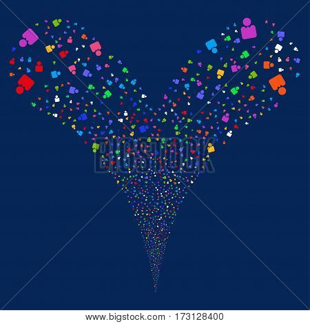 Person fireworks stream. Vector illustration style is flat bright multicolored iconic symbols on a blue background. Object double fountain created from random pictographs.