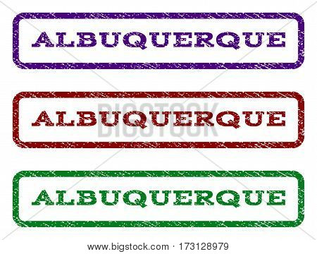 Albuquerque watermark stamp. Text tag inside rounded rectangle with grunge design style. Vector variants are indigo blue red green ink colors. Rubber seal stamp with unclean texture.
