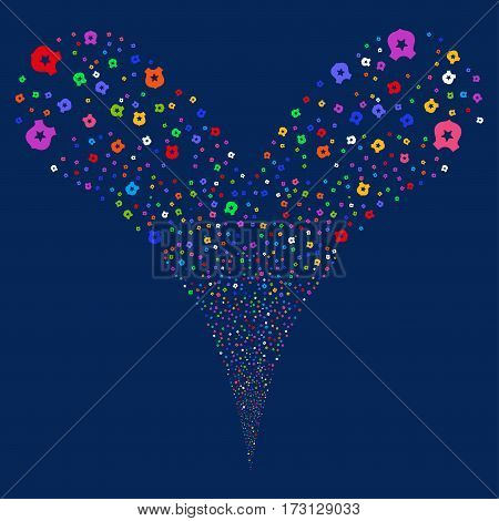 Police fireworks stream. Vector illustration style is flat bright multicolored iconic symbols on a blue background. Object double fountain constructed from random icons.