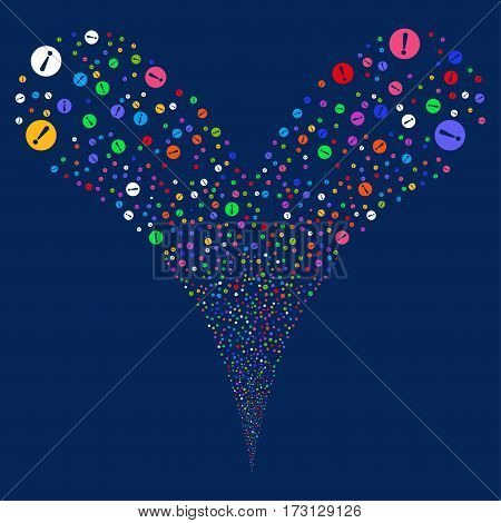 Problem fireworks stream. Vector illustration style is flat bright multicolored iconic symbols on a blue background. Object double fountain made from random pictograms.