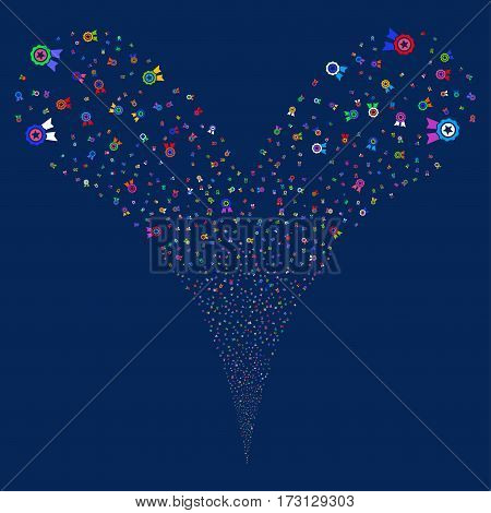 Quality fireworks stream. Vector illustration style is flat bright multicolored iconic symbols on a blue background. Object double fountain made from random icons.