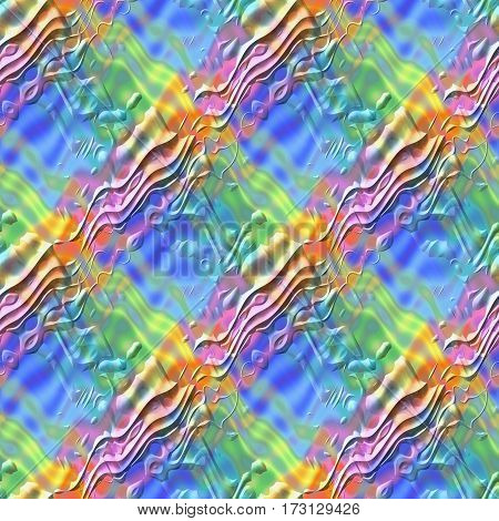 Abstract colorful wave surface pattern Multicolor relief wavy texture background Rainbow colored 3D seamless illustration