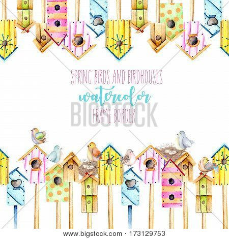 Card template, frame border with watercolor colorful birdhouses, cute birds and nests, hand drawn on a white background