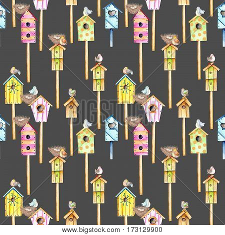 Seamless pattern with watercolor colorful birdhouses, cute birds and nests, hand drawn isolated on a dark background