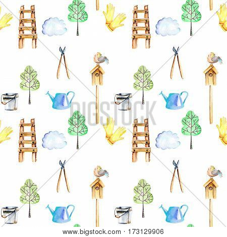 Seamless pattern with watercolor objects of garden tools, hand drawn isolated on a white background