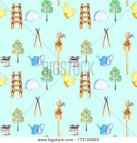 Seamless pattern with watercolor objects of garden tools, hand drawn isolated on a mint background