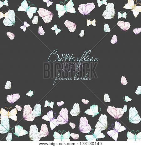 Card template, postcard with watercolor tender butterflies, hand drawn on a dark background,  invitation, greeting card, wedding design