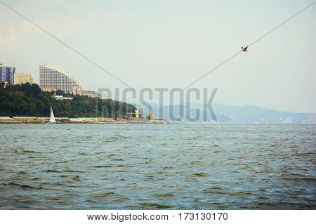 Sochi Russia - June 25 2016: View of the Sochi city from the sea. Black sea, Russia.