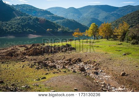Beautiful Landscape With Ladona Lake At Peloponnese, Greece