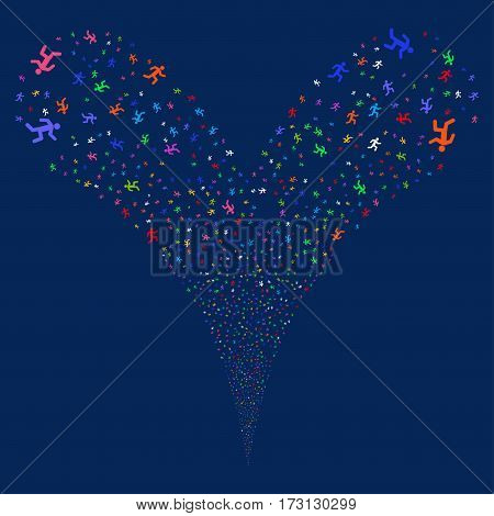 Running Man fireworks stream. Vector illustration style is flat bright multicolored iconic symbols on a blue background. Object double fountain combined from random design elements.
