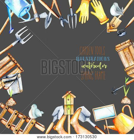 Frame border with watercolor objects of garden tools, hand drawn isolated on a dark background
