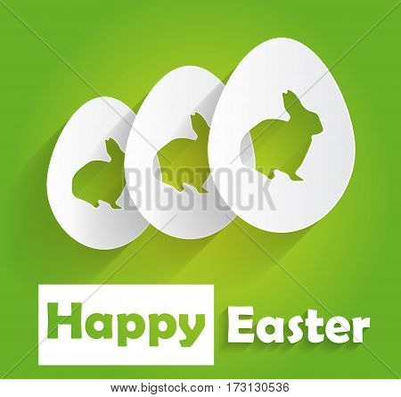 Happy Easter poster on green background with bunny. Vector illustration.