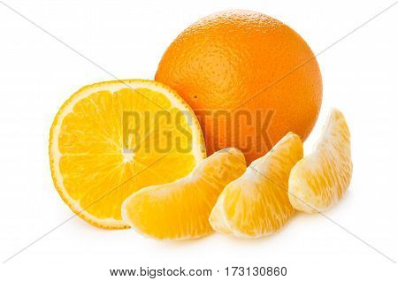 Cut Orange And Slices Isolated On White
