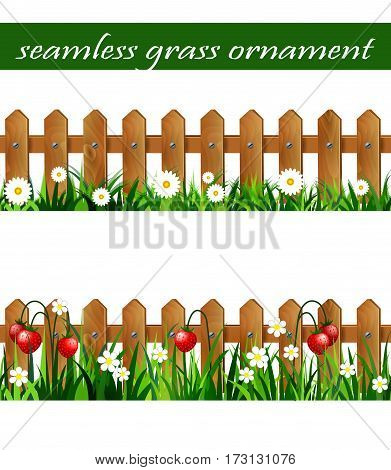 Green Grass set with strawberries on wooden rustic fence and wooden fence with flowers borders seamless isolated clip art vector on white