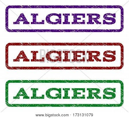 Algiers watermark stamp. Text tag inside rounded rectangle with grunge design style. Vector variants are indigo blue red green ink colors. Rubber seal stamp with dust texture.