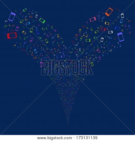 Smartphone fireworks stream. Vector illustration style is flat bright multicolored iconic symbols on a blue background. Object double fountain created from random design elements.