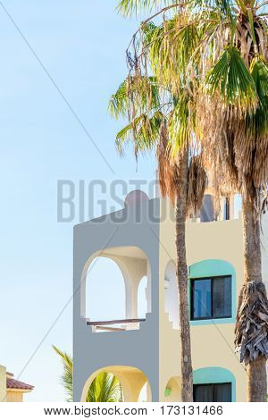 The top of the house or apartment with nice window. San Jose del Cabo, Mexico.