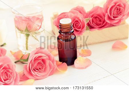 Romantic aromatherapy. Pink fresh blossom and petals, rose essential oil in dark glass bottle. Warm toned.