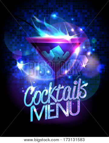 Cocktails menu design with burning cocktail against disco sparkles, rasterized version
