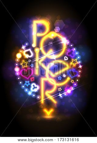 Poker game neon lights signboard design, poster for casino or club, web banner concept, rasterized version
