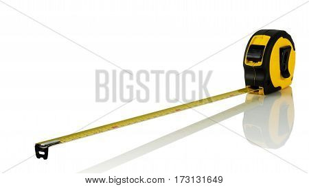construction tape measure in plastic case on white background