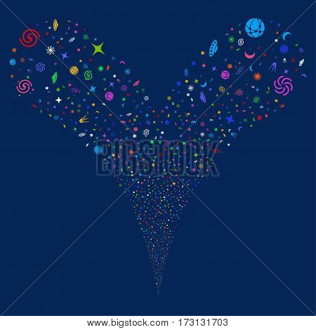 Space Symbols fireworks stream. Vector illustration style is flat bright multicolored iconic symbols on a blue background. Object double fountain combined from random pictographs.
