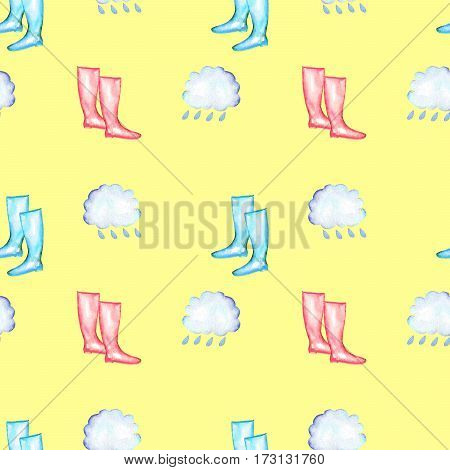 Seamless pattern with watercolor rain elements: rain cloud and rubber boots, hand drawn isolated on a yellow background