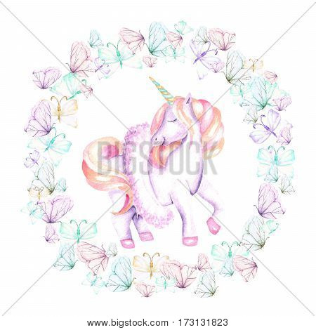 Circle frame, wreath with watercolor tender butterflies and pink unicorn, hand drawn on a white background,  invitation, greeting card, wedding design