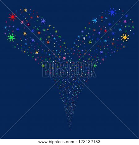 Sun fireworks stream. Vector illustration style is flat bright multicolored iconic symbols on a blue background. Object double fountain created from random design elements.