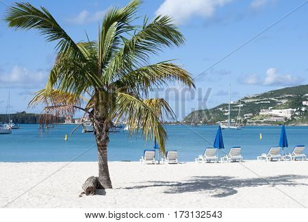 The view Philipsburg town beach on Sint Maarten island (Netherland Antilles).