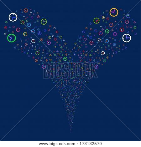 Time fireworks stream. Vector illustration style is flat bright multicolored iconic symbols on a blue background. Object double fountain constructed from random pictograms.