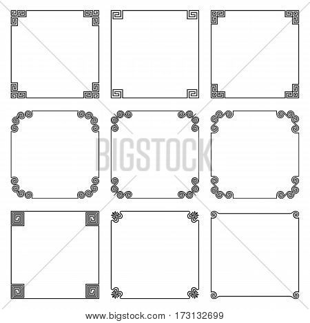 Vector collection of simple square frame with elements of national ornament in the Greek style isolated on white background. Set for decoration of text design in the traditional Hellenic style.