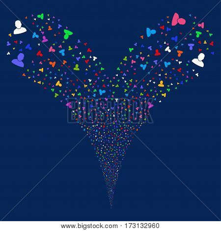 User fireworks stream. Vector illustration style is flat bright multicolored iconic symbols on a blue background. Object double fountain combined from random pictographs.